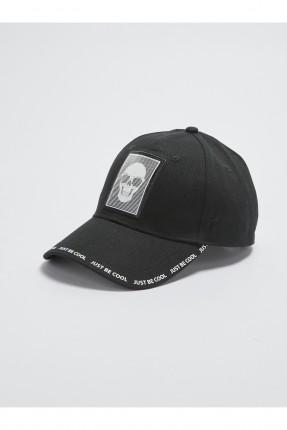 قبعة اطفال ولادي بطبعة جمجمة - اسود