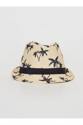 قبعة اطفال ولادي قش بطبعة اشجار