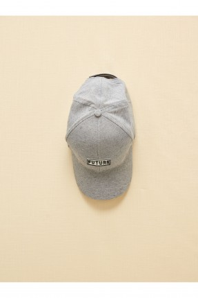 قبعة اطفال ولادي بكتابة - رمادي