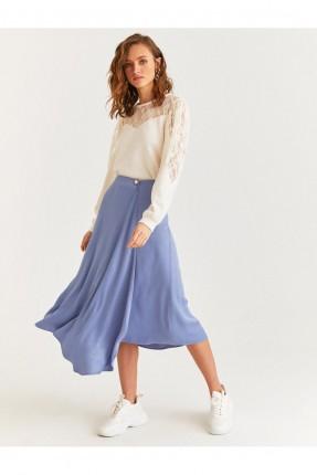تنورة ساتان سادة اللون - ازرق