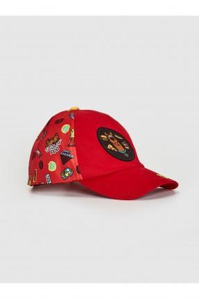 قبعة اطفال ولادي بطبعة سكوبي دو - احمر