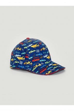 قبعة اطفال ولادي بطبعة سيارات - كحلي