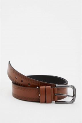 حزام رجالي بنقشة - بني