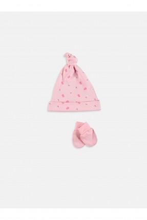 قبعة بيبي بناتي مع قفازات - زهري