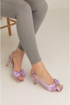حذاء نسائي ساتان بكعب - بنفسجي