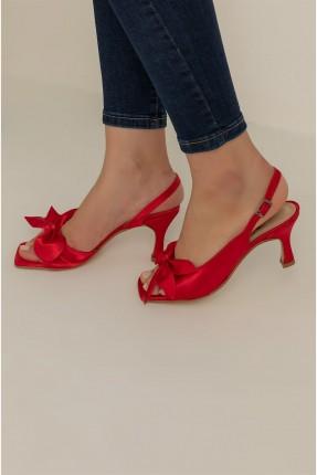 حذاء نسائي ساتان بفيونكة - احمر