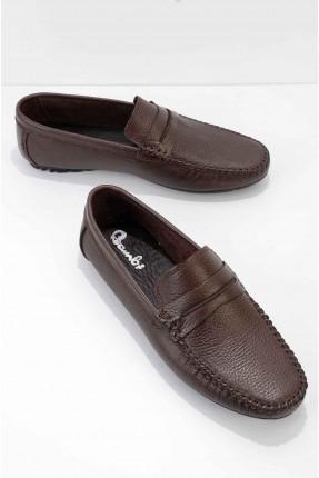 حذاء رجالي مزين بدرزة - بني