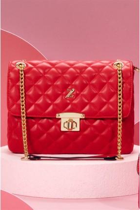 حقيبة يد نسائية بخطوط درزة - احمر