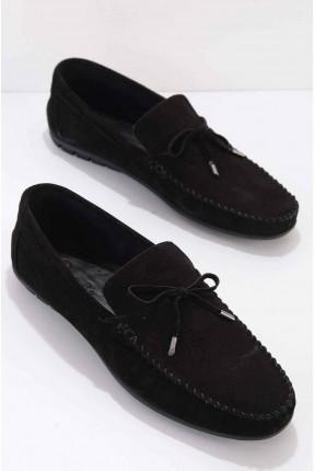 حذاء رجالي شامواه مزين بفيونكة - اسود