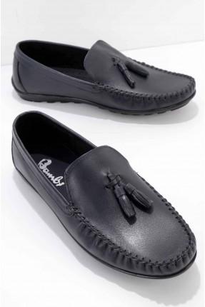 حذاء رجالي مزين بحبكة - كحلي