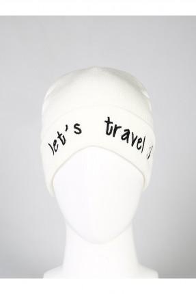قبعة نسائية بكتابة - ابيض
