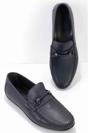 حذاء رجالي مزين بجدلة - كحلي