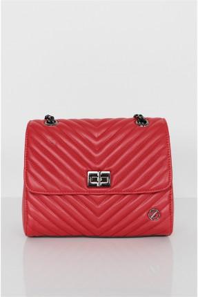 حقيبة يد نسائية بقفل معدني - احمر