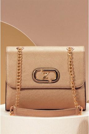 حقيبة يد نسائية مزينة بشعار الماركة - بيج