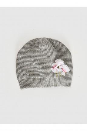 قبعة بيبي بناتي تريكو مزين بورد