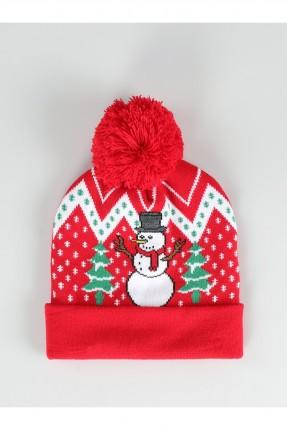 قبعة نسائية مزينة بفرو - احمر