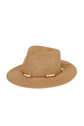 قبعة نسائية قش مزينة بحبل