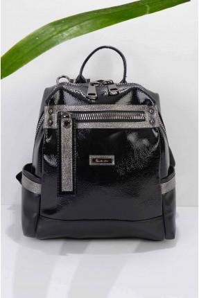 حقيبة ظهر نسائية مزينة بسحاب من الامام - اسود