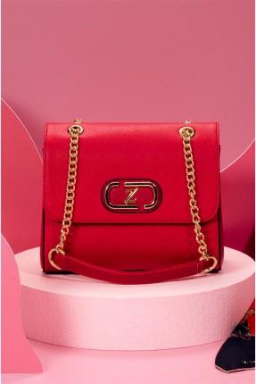 حقيبة يد نسائية بسلسلة معدنية - احمر