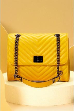 حقيبة يد نسائية بسلسلة معدنية - اصفر