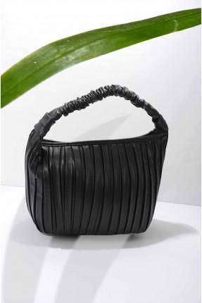 حقيبة يد نسائية جلد مخططة - اسود