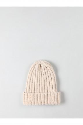 قبعة نسائية بحبكة مضلعة - بيج