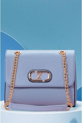 حقيبة يد نسائية بسلسلة معدنية - ازرق