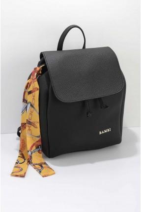 حقيبة ظهر نسائية مزينة باسم الماركة - اسود