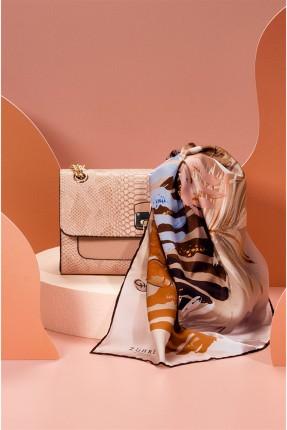 حقيبة يد نسائية جلد بنقشة - بيج