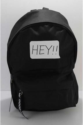حقيبة ظهر نسائية مزينة بكتابة - اسود