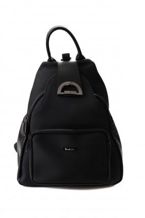 حقيبة ظهر نسائية بجيب سادة اللون - اسود
