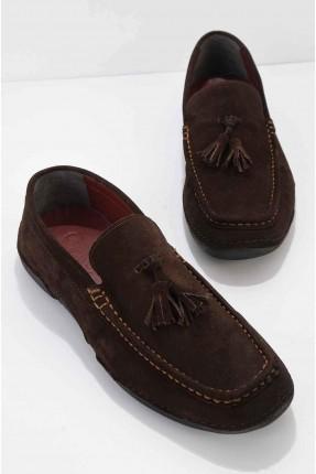 حذاء رجالي مزين بشراشيب - بني