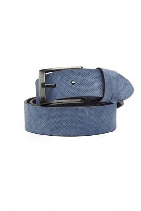 حزام رجالي ببكلة معدنية - ازرق