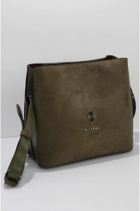 حقيبة يد نسائية شامواه سادة اللون - زيتي