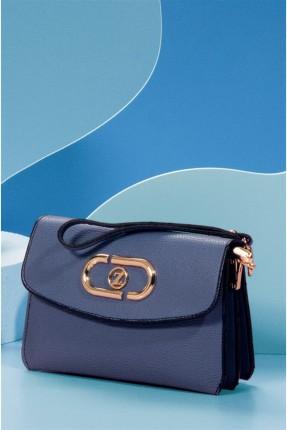 حقيبة يد نسائية مزينة بشعار الماركة - ازرق