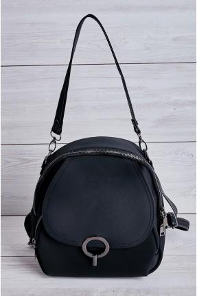 حقيبة ظهر نسائية مزينة بقطعة معدنية - اسود
