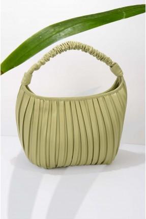 حقيبة يد نسائية جلد مخططة - اخضر