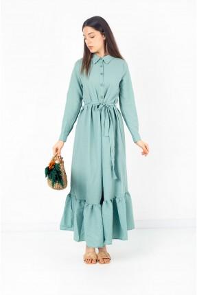 فستان نسائي مزين بازرار - اخضر