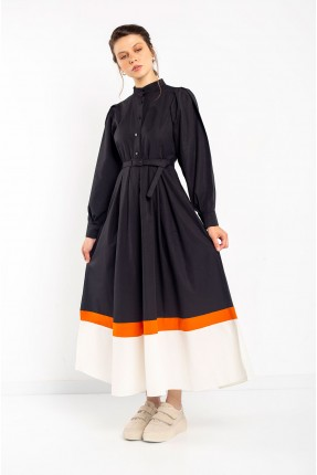 فستان نسائي مزين بحزام - اسود