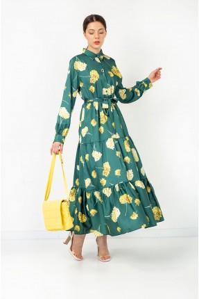 فستان نسائي مزين بازرار على الصدر - اخضر