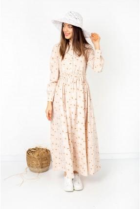 فستان نسائي مزهر - بيج