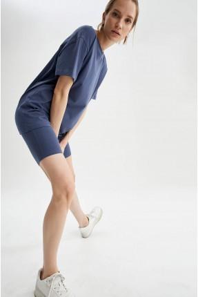 شورت رياضة نسائي ضيق - ازرق