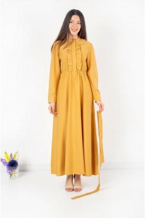 فستان نسائي مزين بكشكش