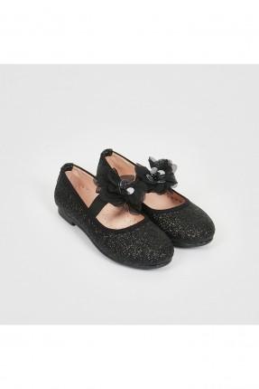 حذاء اطفال بناتي مزين بلمعة - اسود