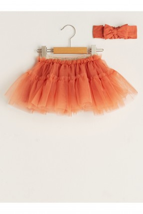 تنورة بيبي بناتي مزينة بتول - برتقالي