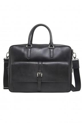 حقيبة يد رجالية جلد مزينة ببكلة - اسود
