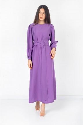 فستان نسائي مزين بحزام - بنفسجي