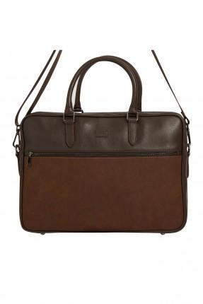 حقيبة يد رجالية جلد بسحاب - بني