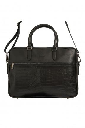 حقيبة يد رجالية جلد بنقشة - اسود