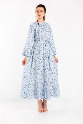 فستان نسائي مزهر - ازرق